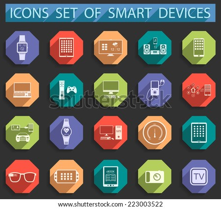 icons set of smart devices