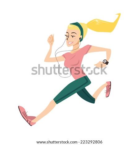 sporty blonde girl running