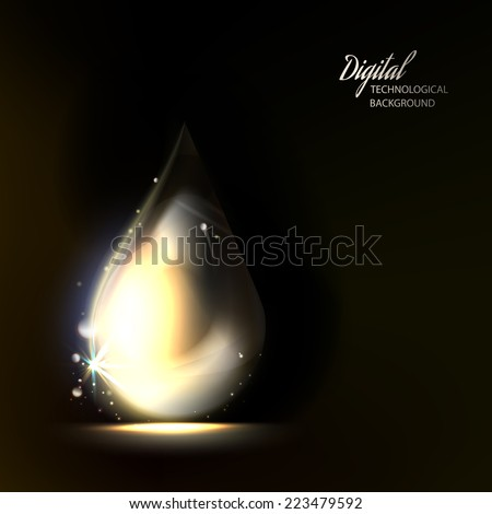 macro of shiny drop on dark