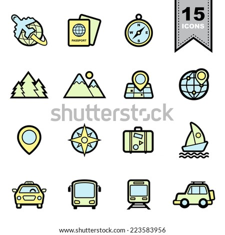 travel icons set illustration