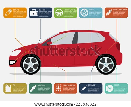 infographic template with car