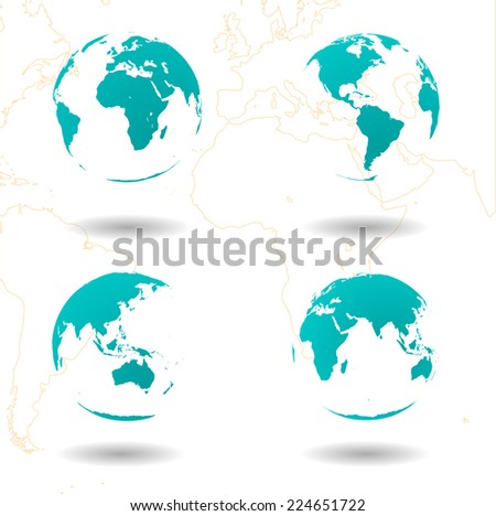 set of vector earth globes