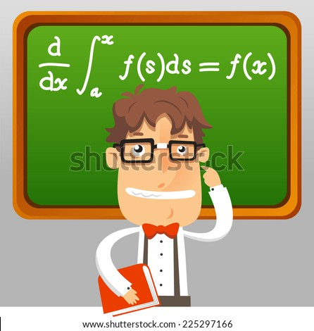 nerd teacher math geek holding