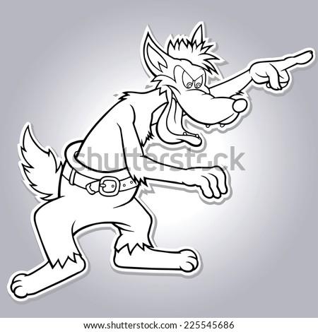 big bad cartoon wolf vector