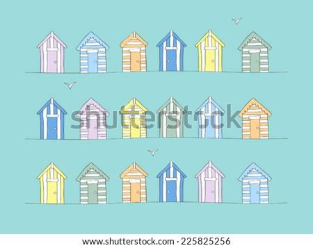 hand drawn beach huts