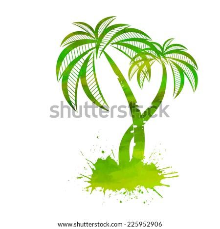 watercolor palm vector