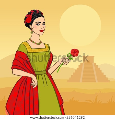 beautiful mexican woman against