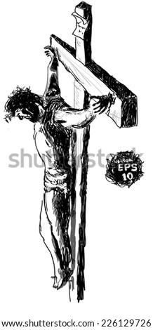 jesus christ cross draw on
