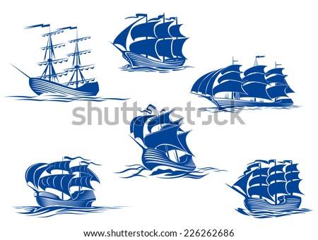 blue tall ships or sailing