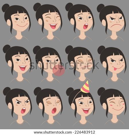 set of cartoon cute asian girl