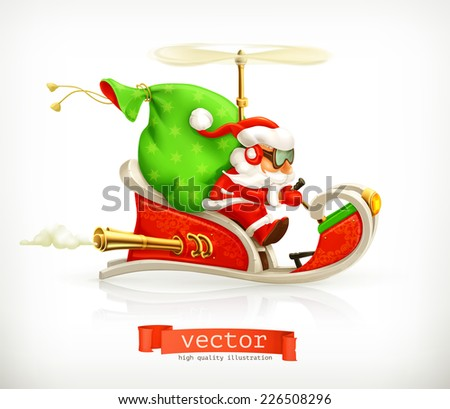 santa claus on sledge  vector