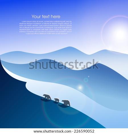 arctic landscape with three