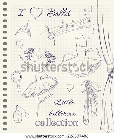 hand drawn ballerina and