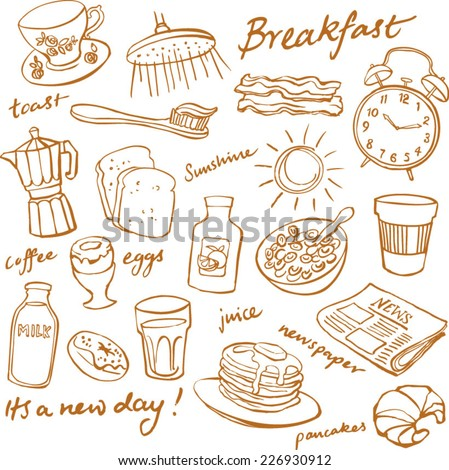 breakfast food and icons doodle