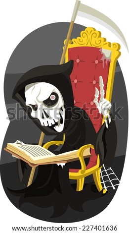 grim reaper reading the book of