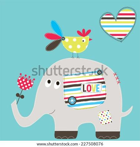cute elephant with bird vector
