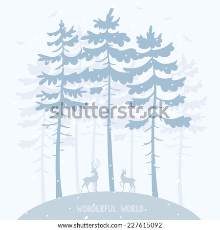 silhouette of amazing pines and