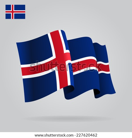 flat and waving icelandic flag