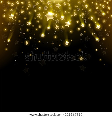 salute of gold stars on a black