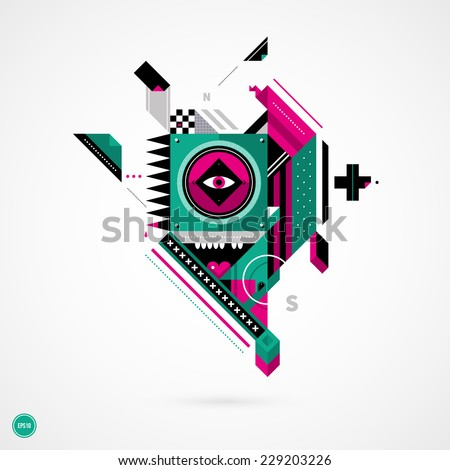 abstract geometric creature on