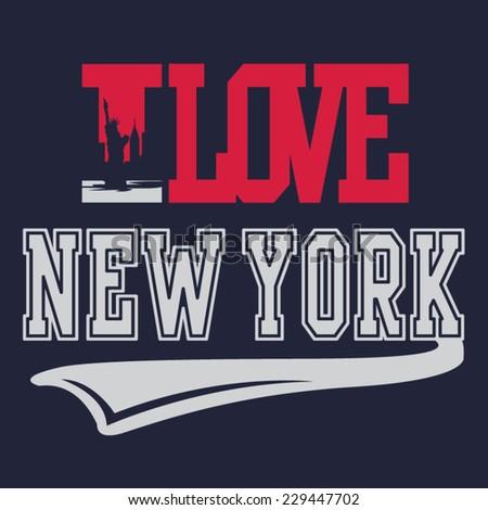 i love new york typography  t