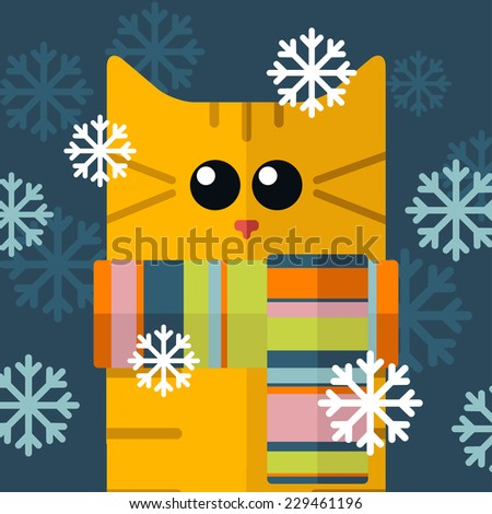 vector color flat cat and snow