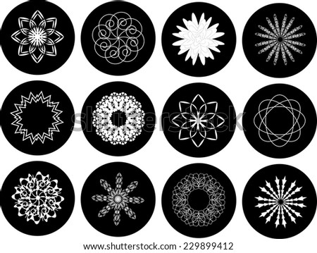floral shapes and snowflakes in