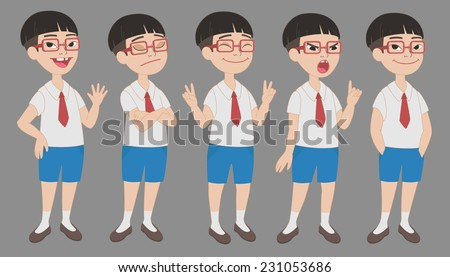 cartoon style asian boy in