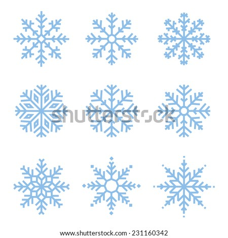 various winter snowflakes