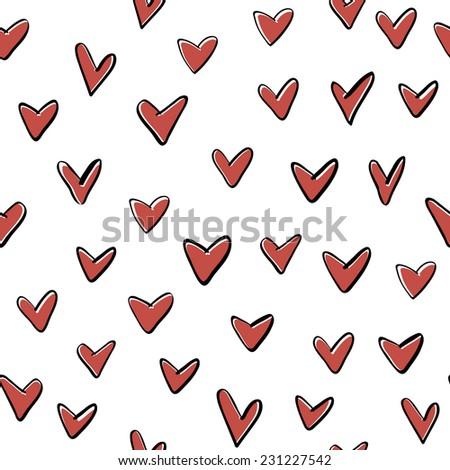 hearts seamless pattern  drawn