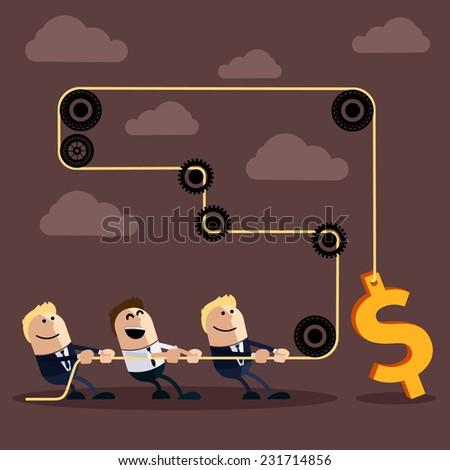 happy businessman pulling rope