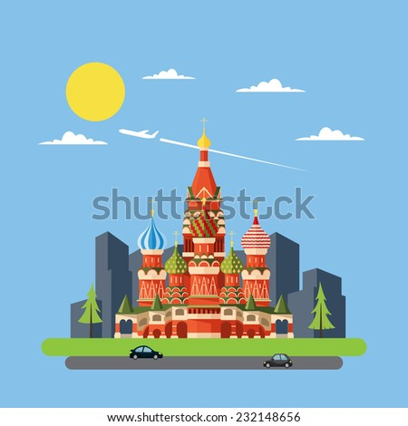 flat design of russia castle