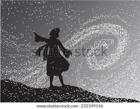 girl in the snowfall looking at