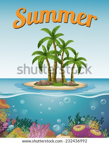summer postcard with island and