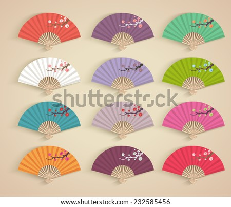 set of decorative folding fans