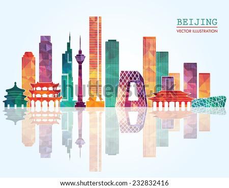 beijing skyline vector