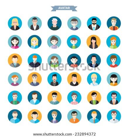 big set of stylish avatar of