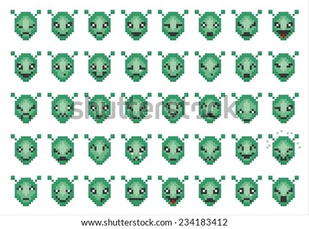 vector icons of smiley pixel