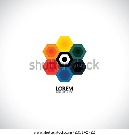 colorful hexagons together as