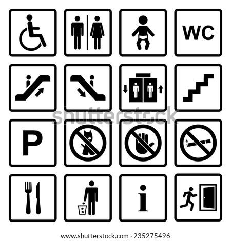vector black public icons set