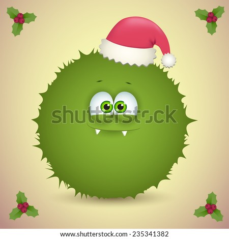 fluffy monster with christmas