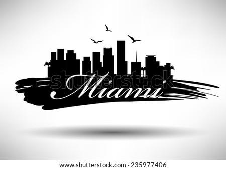 miami skyline with typography