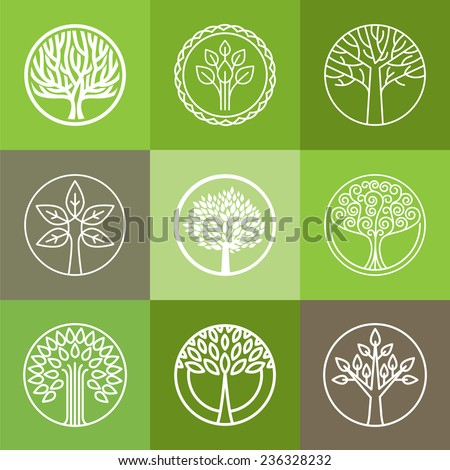 vector tree logo   set of