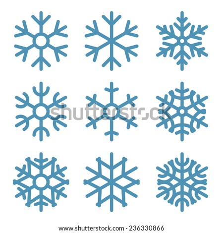 set of nine snowflakes thin
