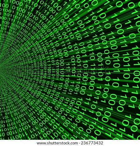 abstract green binary code 3d