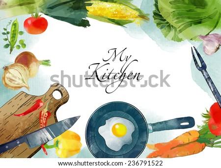watercolor vector kitchen