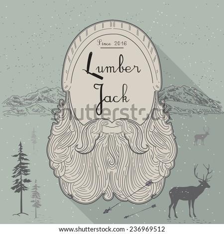 card of lumberjack emblem and