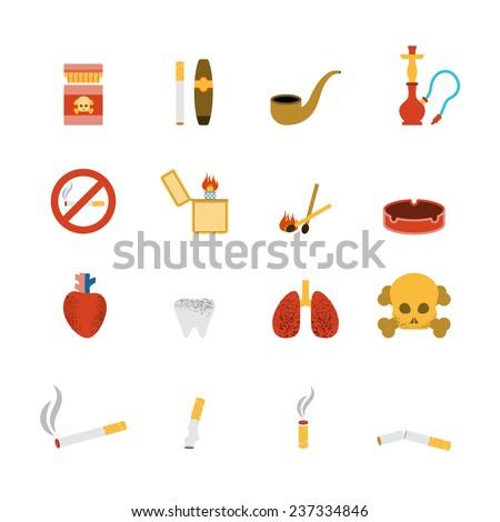 smoking icon flat set with