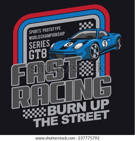 racing car typography  t shirt