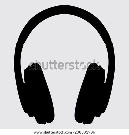 vector headphones icons on a